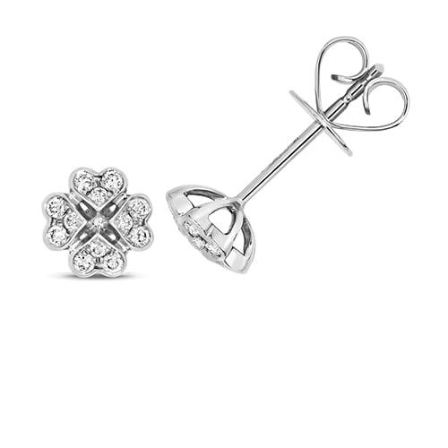 Diamond Clover shaped stud earrings 18ct white gold 0.18 ct,VS G,topjewelleryuk,topjewellery birmingham
