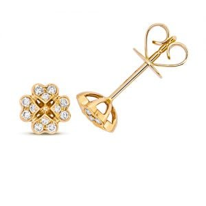 Diamond Clover shaped stud earrings 18ct yellow gold 0.18 ct,VS G,topjewelleryuk,topjewellery birmingham