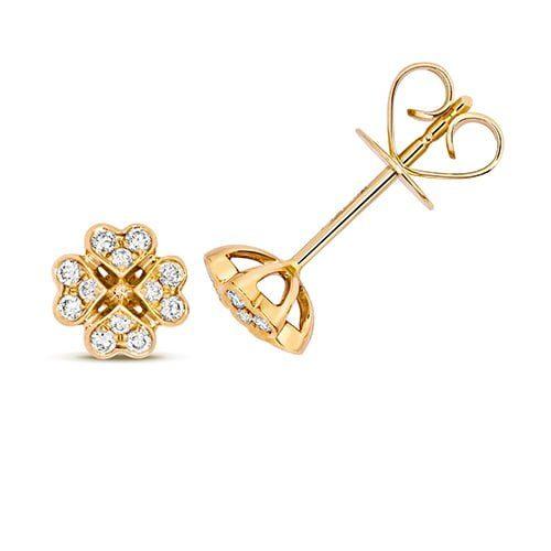 Diamond Clover shaped stud earrings 18ct yellow gold 0.18 ct,VS G,topjewelleryuk,topjewellery birmingham