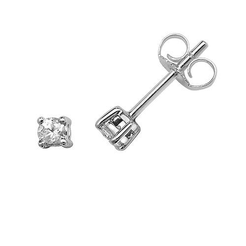 Diamond Cluster 4-claw stud earrings 9ct white gold 0.20 ct SI2,topjewelleryuk,topjewellery birmingham