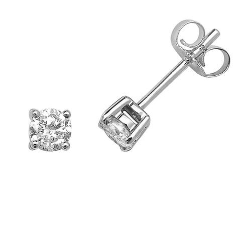 Diamond Cluster 4-claw stud earrings 9ct white gold 0.50 ct SI2,topjewelleryuk,topjewellery birmingham