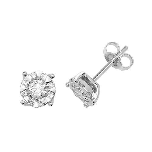 Diamond Cluster 4-claw stud earrings 9ct white gold 0.60 ct SI2,topjewelleryuk,topjewellery birmingham