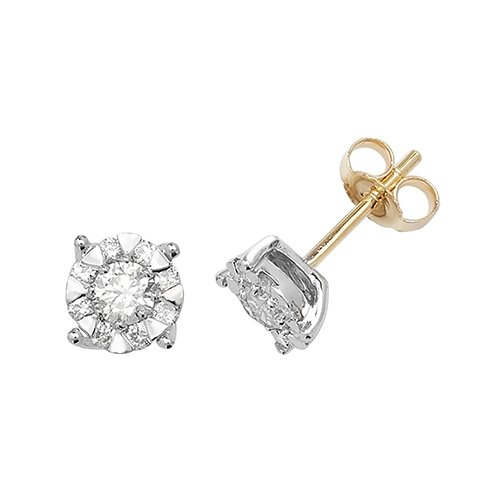 Diamond Cluster 4-claw stud earrings 9ct yellow gold 0.60 ct SI2,topjewelleryuk,topjewellery birmingham