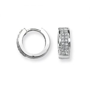 Diamond Double Row Hoop earrings 9ct White gold 0.15ct SI2,TopjewelleryUK.Birmingham