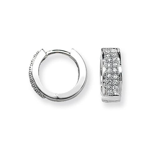 Diamond Double Row Hoop earrings 9ct White gold 0.15ct SI2,TopjewelleryUK.Birmingham