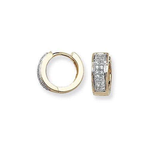 Diamond Double Row Hoop earrings 9ct yellow gold 0.15ct SI2,TopjewelleryUK.Birmingham