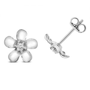 Diamond Flower shaped drop earrings 9ct white gold 0.05 ct SI2,topjewelleryuk,topjewellery birmingham