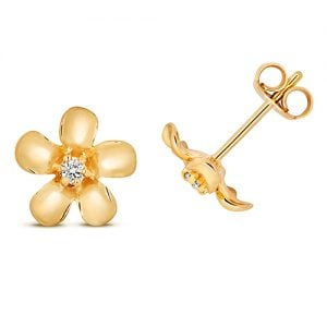 Diamond Flower shaped drop earrings 9ct yellow gold 0.05 ct SI2,topjewelleryuk,topjewellery birmingham