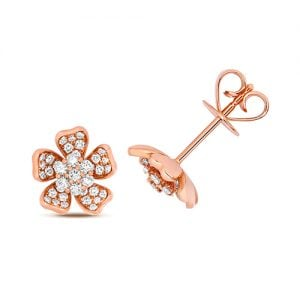 Diamond Flower shaped stud earrings 18ct rose gold 0.18 ct,VS G,topjewelleryuk,topjewellery birmingham