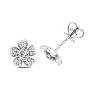 Diamond Flower shaped stud earrings 18ct white gold 0.48 ct,VS G,topjewelleryuk,topjewellery birmingham
