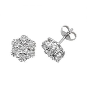 Diamond Flower stud earrings 9ct white gold 0.06 ct SI2,topjewelleryuk,topjewellery birmingham