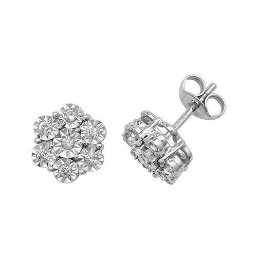 Diamond Flower stud earrings 9ct white gold 0.06 ct SI2,topjewelleryuk,topjewellery birmingham