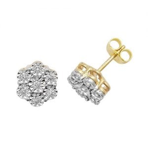 Diamond Flower stud earrings 9ct yellow gold 0.06 ct SI2,topjewelleryuk,topjewellery birmingham