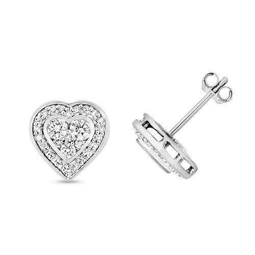9k Heart Shaped Diamond Stud Earrings Top Jewellery