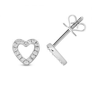 Diamond Heart stud earrings 9ct white gold 0.12 ct SI2,topjewelleryuk,topjewellery birmingham