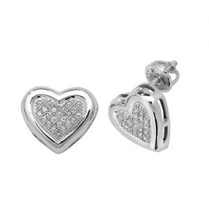 Diamond Heart stud earrings 9ct white gold 0.13 ct SI2,topjewelleryuk,topjewellery birmingham