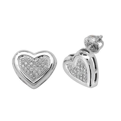85d2ff2ad Diamond Heart stud earrings 9ct white gold 0.13 ct  SI2,topjewelleryuk,topjewellery birmingham