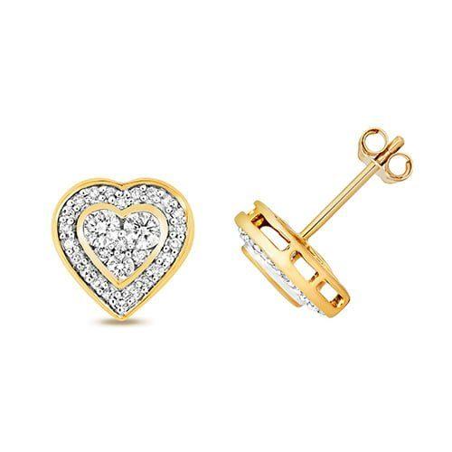 Diamond Heart stud earrings 9ct yellow gold 0.07 ct SI2,topjewelleryuk,topjewellery birmingham