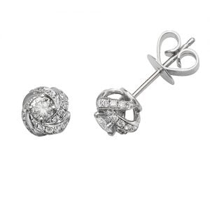 Diamond Knot stud earrings 18ct white gold 0.52,H color, VS,SI,topjewelleryuk,topjewellery birmingham