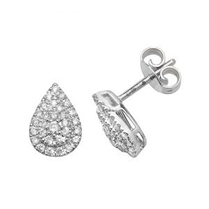 Diamond Pear shaped studs earrings 9ct white gold 0.37 ct SI2,topjewelleryuk,topjewellery birmingham