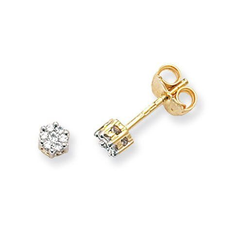 Diamond Round stud earrings 9ct yellow gold 0.12 ct SI,topjewelleryuk,topjewellery birmingham