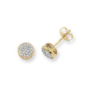 Diamond Round stud earrings 9ct yellow gold 0.17 ct SI2,topjewelleryuk,topjewellery birmingham