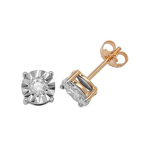 Diamond Round stud earrings 9ct yellow gold 0.31 ct SI,topjewelleryuk,topjewellery birmingham