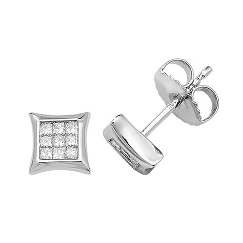 Diamond Square stud earrings 9ct white gold 0.06 ct SI2,topjewelleryuk,topjewellery birmingham