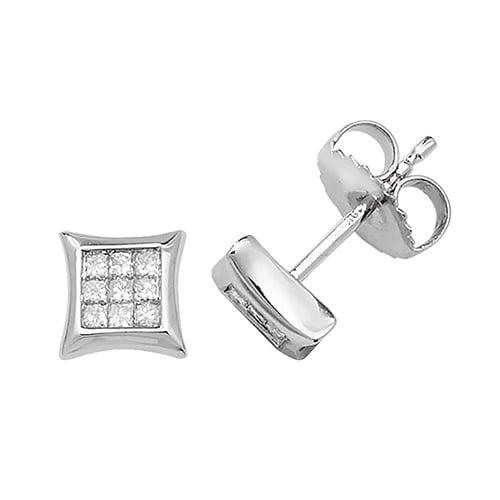 Diamond Square stud earrings 9ct white gold 0.06 ct SI2,topjewelleryuk,topjewellery birmingham