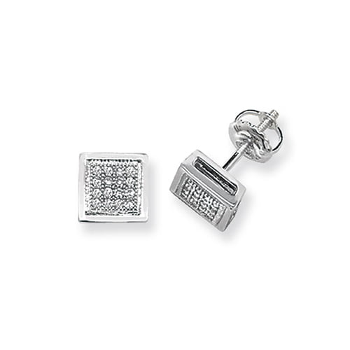Diamond Square stud earrings 9ct white gold 0.13 ct SI2,topjewelleryuk,topjewellery birmingham