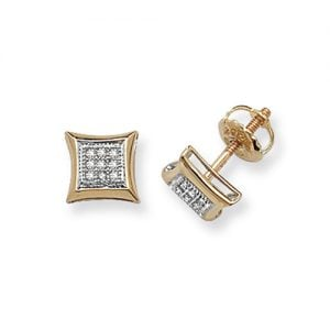 Diamond Square stud earrings 9ct yellow gold 0.06 ct SI2,topjewelleryuk,topjewellery birmingham