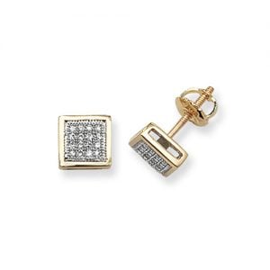Diamond Square stud earrings 9ct yellow gold 0.13 ct SI2,topjewelleryuk,topjewellery birmingham