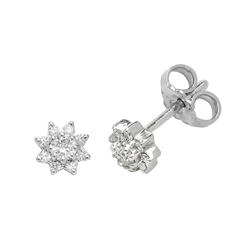Diamond Star stud earrings 9ct white gold 0.25 ct SI2,topjewelleryuk,topjewellery birmingham