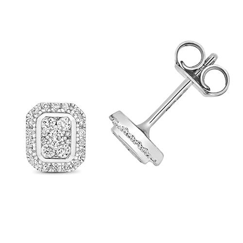 Diamond emerald shaped drop earrings 9ct white gold 0.25 ct,H color, SI,topjewelleryuk,topjewellery birmingham