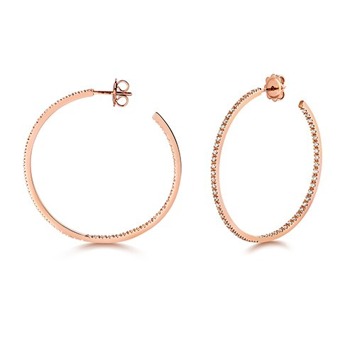 Diamond hoops earrings 18ct rose gold 1.10 ct,G-H color, VS,SI,topjewelleryuk,topjewellery birmingham
