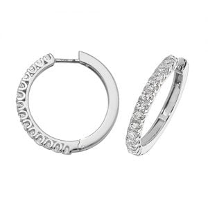 Diamond hoops earrings 18ct white gold 1.07 ct,G-H color, VS,SI,topjewelleryuk,topjewellery birmingham