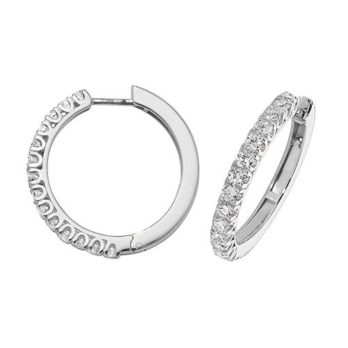 Diamond hoops earrings 18ct white gold 1.07 ct,G-H color, VS,SI,topjewelleryuk,topjewellery birmingham