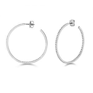 Diamond hoops earrings 18ct white gold 1.16 ct,G-H color, VS,SI,topjewelleryuk,topjewellery birmingham