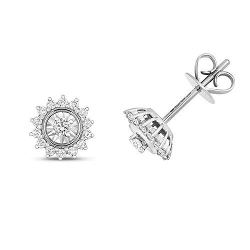 Diamond illusion star shaped drop earrings 9ct white gold 0.28 ct SI2,topjewelleryuk,topjewellery birmingham
