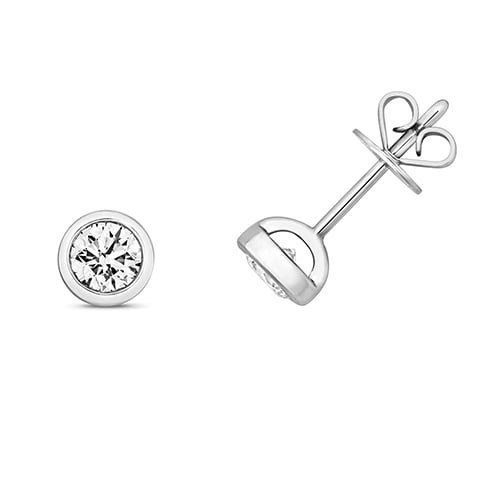Diamond rubover stud earrings 9ct white gold 0.50 ct,H color, SI2,topjewelleryuk,topjewellery birmingham