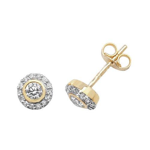 DiamondBezel stud earrings 9ct white gold 0.06 ct SI2,topjewelleryuk,topjewellery birmingham