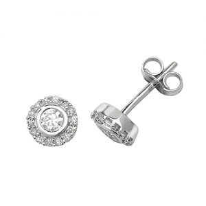 DiamondBezel stud earrings 9ct yellow & white gold 0.06 ct SI2,topjewelleryuk,topjewellery birmingham
