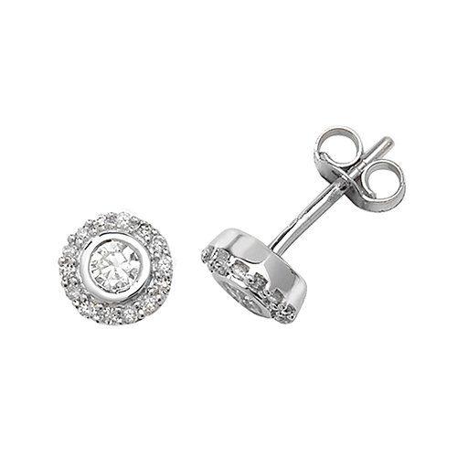 DiamondBezel stud earrings 9ct yellow & white gold 0.06 ct SI2,topjewelleryuk,topjewellery birmingham