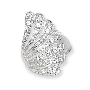 Fancy Ladies Feather Cz Patterned Sterling silver Signet ring 925,Signet ring, Top Jewellery UK,Birmingham,Topjewelleryuk
