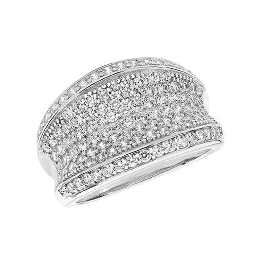 Cz Fancy Silver Ring 7167 Top Jewellery