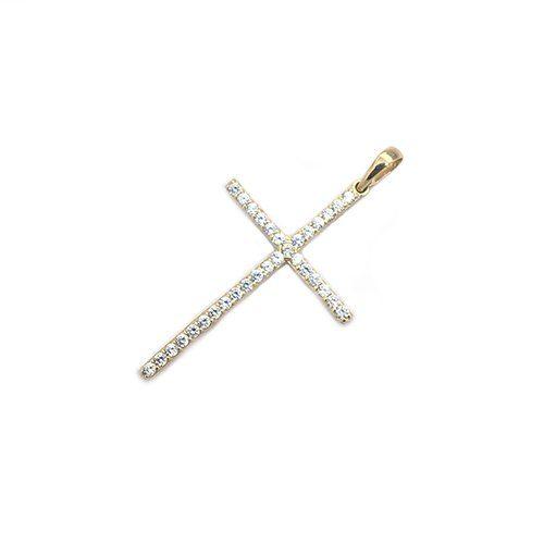 CZ-Cross-diamond-earrings-18ct-white-goldangel-yellow-gold-58514ktopjewelleryuk.3