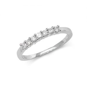 Diamond 7 stone prong set 9ct White gold 0.25 ct,H color, SI2,topjewelleryuk,topjewellery birmingham