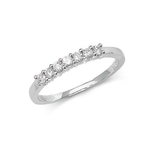 Diamond 7 stone prong set 9ct White gold 0.25 ct,H color, SI2,topjewelleryuk,topjewellery birmingham