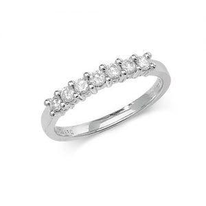 Diamond 7 stone prong set 9ct white gold 0.33 ct,H color, SI2,topjewelleryuk,topjewellery birmingham