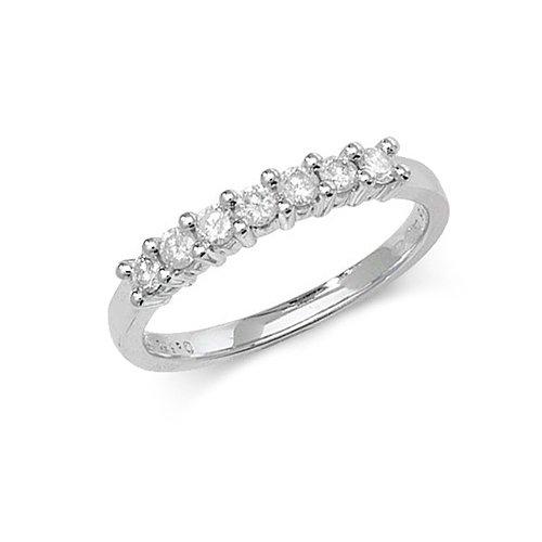 Diamond 7 stone prong set 9ct white gold 0.33 ct,H color, SI2,topjewelleryuk,topjewellery birmingham